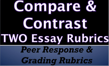 Easy Grading & Response- COMPARE AND CONTRAST Peer Edit & Grading Rubric 2 for 1
