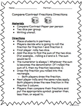 Compare/Contrast Fractions