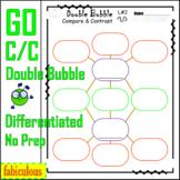 Compare & Contrast Graphic Organizer Double Bubble Differentiated + Poster