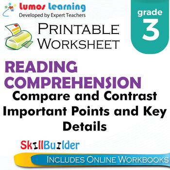 Compare & Contrast Important Points & Key Details Printable Worksheet, Grade 3
