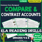 Compare & Contrast Points of View/Accounts: ELA Reading Worksheets | GRADE 4 & 5