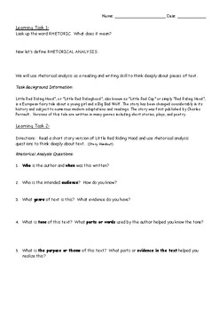 Compare/Contrast Little Red Riding Hood Using Rhetorical Analysis Tasks