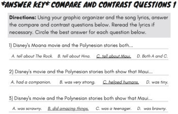 Compare & Contrast Passage Fiction, Moana Movie Worksheets & Activities Guide