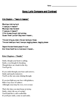 Compare & Contrast Song Lyrics by Eric Clapton