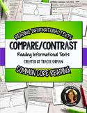 Compare Contrast Two or More Texts NonFiction Graphic Organizers
