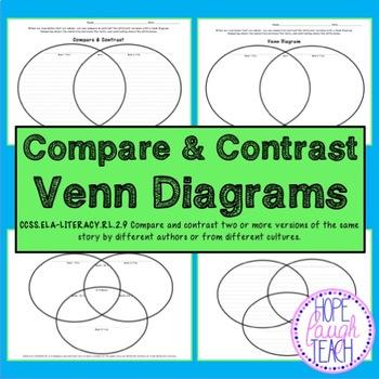 Compare & Contrast Venn Diagram Graphic Organizers