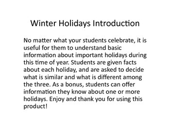 Compare & Contrast Winter Holidays