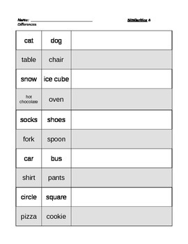 Compare & Contrast Worksheets