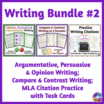 Compare & Contrast Writing, Opinion & Persuasive Writing, MLA Citations BUNDLE
