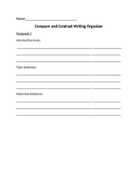 Compare Contrast Writing Organizer