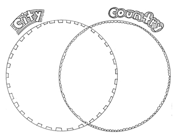 Compare & Contrast: city - country drawings with venn diagram, elementary