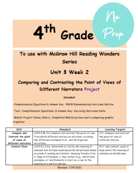 Compare & Contrast the Points of View of Different Narrators Reading Wonders