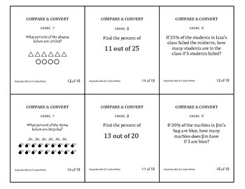 Compare & Convert  (Fractions, Decimals, Percent, Proportions) Review Cards