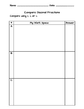 Compare Decimal Fractions Practice Strips and Work Space