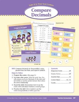 Compare Decimals (Take It to Your Seat Centers Common Core Math)