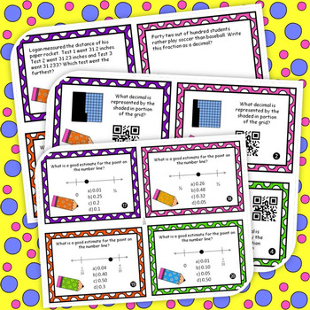 Compare Decimals Task Cards and 5 *NO PREP* Worksheets 4th Grade Common Core