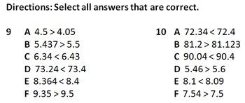 Compare Decimals VA SOL 4.3c