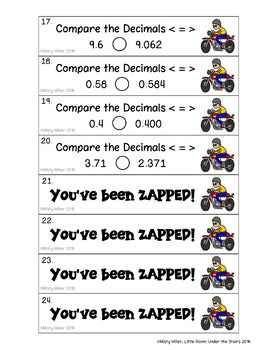 Compare Decimals Don't Get ZAPPED Math Game