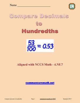 Compare Decimals to Hundredths - 4.NF.7