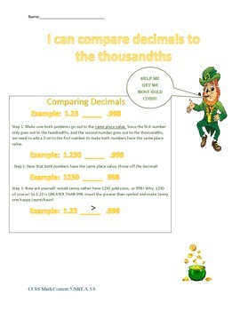 Lenny the Leprechaun Compares Decimals to the Thousandths