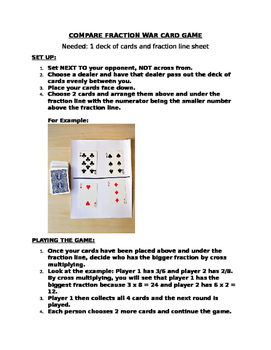 Compare Fraction War Card game
