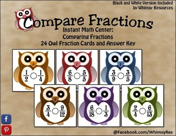 Fall Compare Fraction Owls