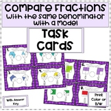 Compare Fractions With Like Denominators with a Model | Task Cards