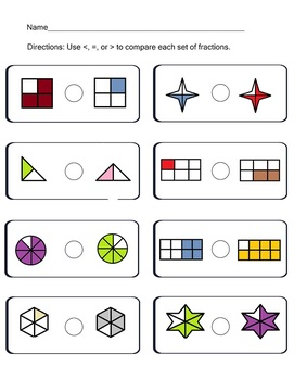 Compare Fractions Worksheets Common Core CCSS.Math.Content.3.NF.A.3a