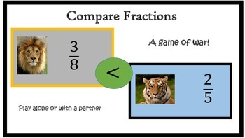 Fraction Cards:Compare Fractions (aka War)