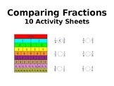 10 Comparing Fractions Worksheets (more/less than and equal to)