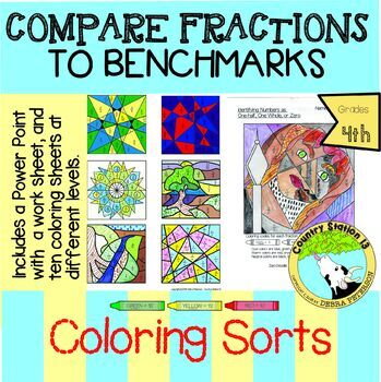 Coloring - Compare Fractions to Benchmark Fractions, One-half and One-whole