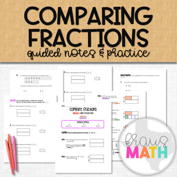 Compare Fractions using Fraction Bars Notes and Practice