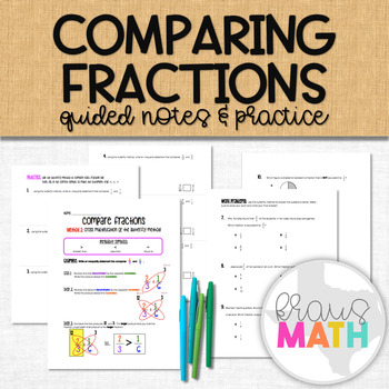 Compare Fractions using the Butterfly Method: Guided Notes and Practice
