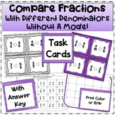 Compare Fractions with Different Denominators Task Cards (Without a Model)