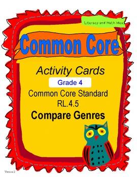 Compare Genres Activity Cards Grade 4 Common Core RL.4.5