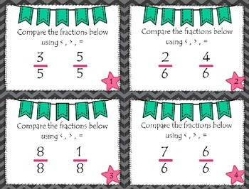 Compare LIKE Fractions Scoot Game
