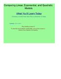Compare Linear, Exponential, and Quadratic Models SmartBoard Lesson