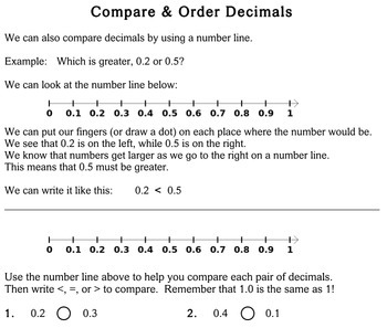 Compare / Order Decimals, 3rd grade - Individualized Math - worksheets