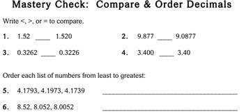 Compare / Order Decimals, 5th grade - worksheets - Individualized Math