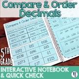 Compare & Order Decimals Interactive Notebook Activity & Quick Check TEKS 5.2B