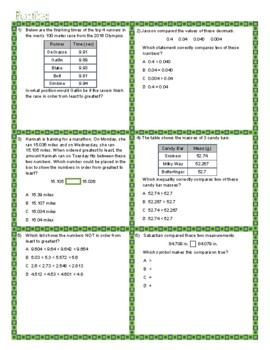 Compare & Order Decimals STAAR Review Lesson