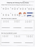 Compare & Order Fraction Quiz 1