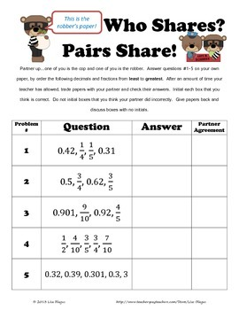 Compare & Order Fractions & Decimals Partner Activity/Pair Share