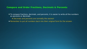 Compare & Order Fractions, Decimals & Percents PowerPoint Lesson