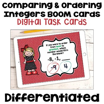 Comparing and Ordering Integers Digital Task Cards - BOOM Cards
