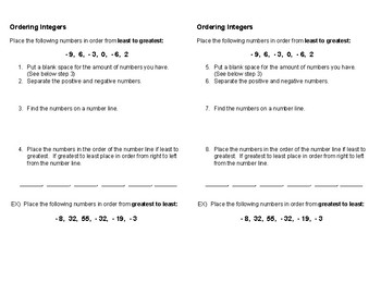 Compare & Order Integers Notes