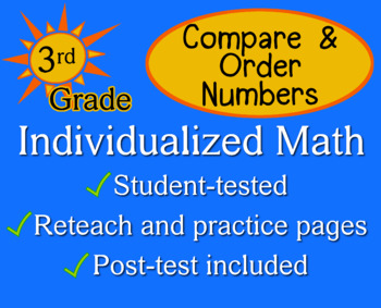 Compare & Order Numbers, 3rd grade - Individualized Math - worksheets