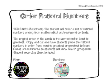Compare & Order Rational Number Cards