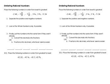 Compare & Order Rational Numbers
