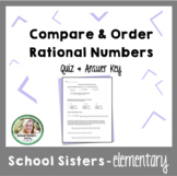 Compare & Order Rational Numbers  Quiz & Answer Key
